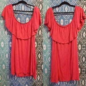 Rue21 3x coral off shoulder dress